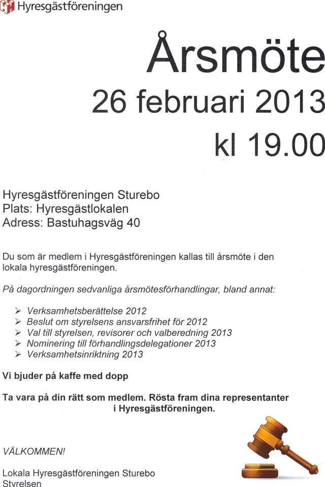 Årsmöte 26 febr 2013